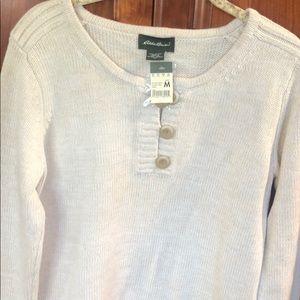 Eddie Bauer Cotton Henley sweater new